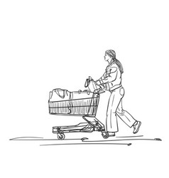Woman with supermarket cart walking after vector