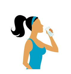 Young woman drinking water vector image