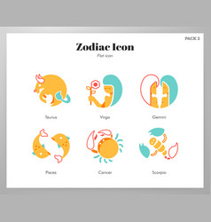 Zodiac icon flat pack vector