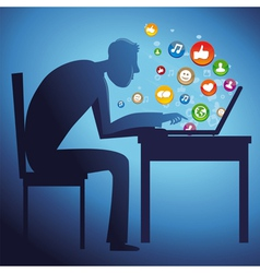 man sitting at the table with laptop - social netw vector image vector image