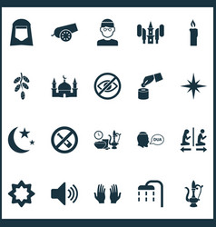 Ramadan icons set with nacht body cleansing meal vector