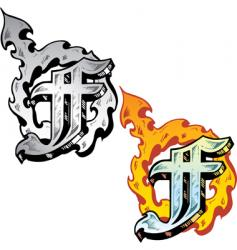 tattoo letter F vector image vector image