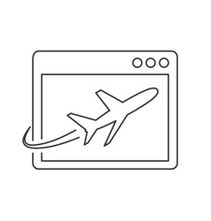 airplane on site page line icon vector image vector image