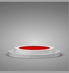 cylindrical podium with red carpet stage podium vector image