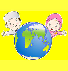 muslim kids and the world - vector image