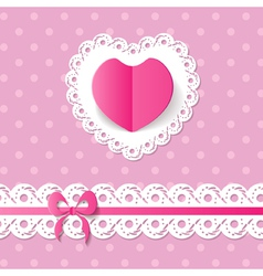 pink background with a heart and a band vector image