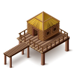 stilt house isolated vector image vector image