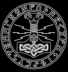 thors hammer - mjollnir and the scandinavian vector image