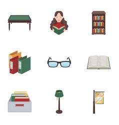 a set of icons with books seth about the library vector image