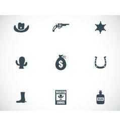 black wild west icons set vector image