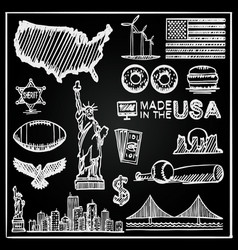 chalkboard collection of icons the united states vector image vector image