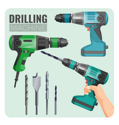 drilling machine of electro vector image