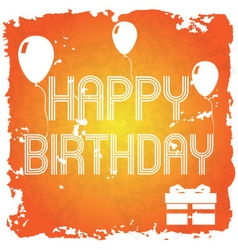 happy birthday on the orange old paper background vector image vector image