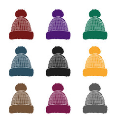 knit cap icon in black style isolated on white vector image