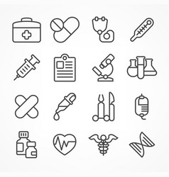 medical line icons on white vector image vector image