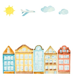Watercolor house clouds airplane vector