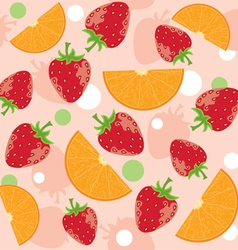 abstract background with strawberry and oranges vector image vector image