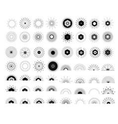 big set of retro sun burst shapes vector image vector image