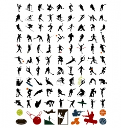 collection of silhouettes of sportsmen vector image