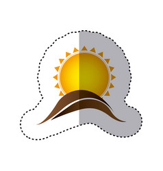 color sticker with abstract sun over hill of land vector image vector image