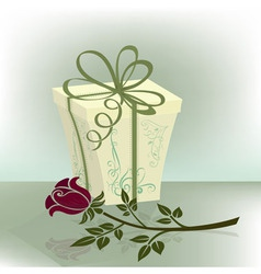 Present box with purple rose vector image vector image