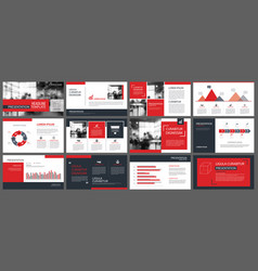 red presentation templates and infographics vector image vector image