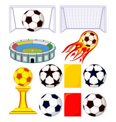 11 soccer elements colorful cartoon set vector image