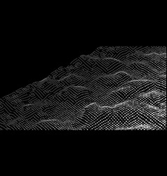 Abstract digital noise wave from lines and dots vector
