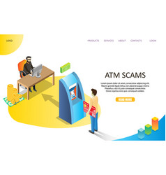 atm scams landing page website template vector image