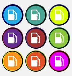 Auto gas station icon sign Nine multi colored vector