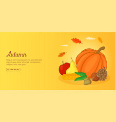 Autumn foods banner horizontal man cartoon style vector