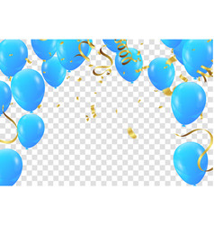 Balloons colored confetti with ribbons and vector