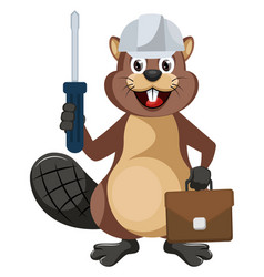 Beaver worker on white background vector
