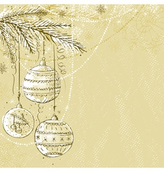 Beige christmas background with christmas balls vector