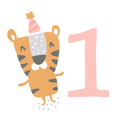 Birthday tiger vector