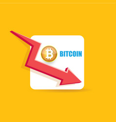 bitcoin market crash graph on orange vector image