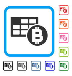 bitcoin table framed icon vector image