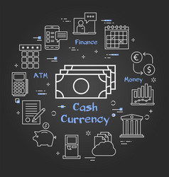 black finance concept - cash banknotes currency vector image