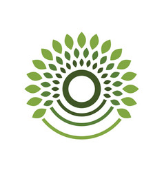 Blooming cycles green symbol logo design vector