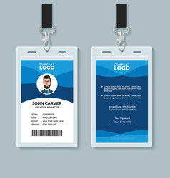 Blue wave identity card design template vector