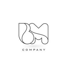 Bm monogram letter logo with thin black monogram vector