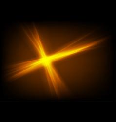 Bright glowing orange star glare beams background vector