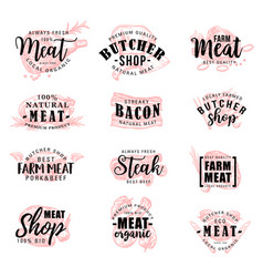 Butcher shop farm meat products sketch lettering vector