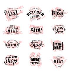 butcher shop farm meat products sketch lettering vector image