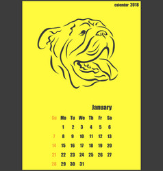 Calendar for 2018 year year of the yellow dog vector