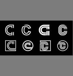 Capital letter c modern set for monograms logos vector