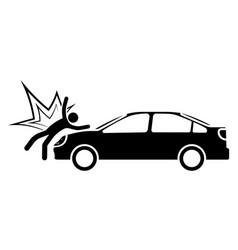 Car hit a stick man pedestrian at crosswalk vector