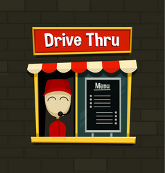 Cartoon drive thru menu board fast food business vector