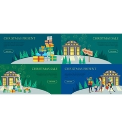 Christmas Sale and Present Web Banners Best Store vector image