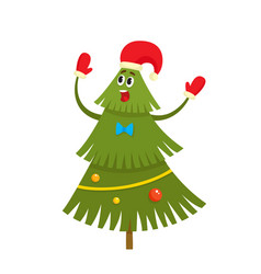 Christmas tree character with red hat and mittens vector